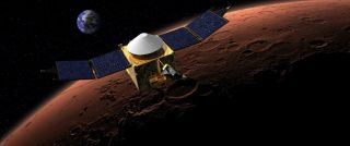 Artist's Concept MAVEN in Orbit around Red Planet