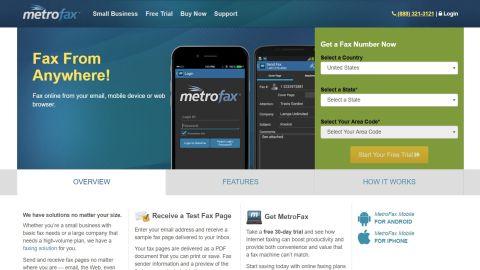 MetroFax webpage