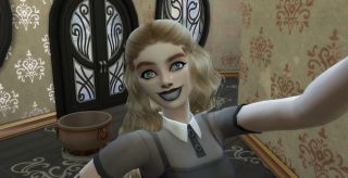 A screenshot of Stevie's Halloween character in The Sims 4.