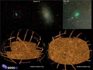 The new SDSS-III image of the whole sky, the largest ever made. At top left is a view of a small part of the sky, centered on the galaxy Messier 33 (M33). The middle top picture is a further zoom-in on M33. The top right-hand picture is a further zoom int