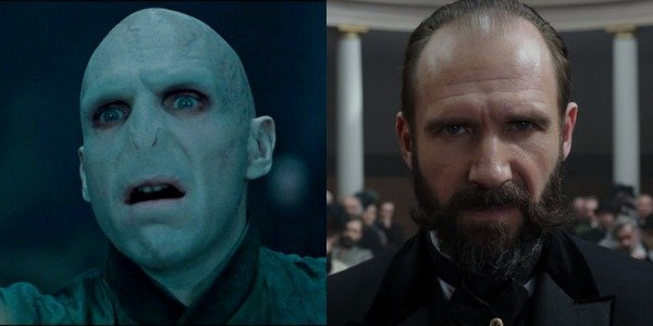 Ralph Fiennes as Lord Voldemort in Harry Potter and then as Moriarty in Holmes & Watson