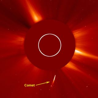 The SOHO spacecraft watched as a fairly bright comet dove towards the sun in a white streak and was not seen again after its close encounter (May 10-11, 2011). The comet, probably part of the Kreutz family of comets, was discovered by amateur astronomer S