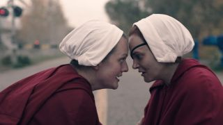 Elisabeth Moss and Alexis Bledel in The Handmaid's Tale on Hulu.