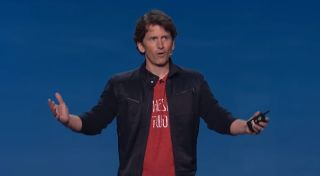 Todd Howard gesticulating at a conference