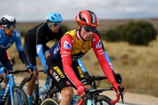 EJEADELOSCABALLEROS SPAIN OCTOBER 23 Primoz Roglic of Slovenia and Team Jumbo Visma Red Leader Jersey during the 75th Tour of Spain 2020 Stage 4 a 1917km stage from Garray Numancia to Ejea de los Caballeros lavuelta LaVuelta20 La Vuelta on October 23 2020 in Ejea de los Caballeros Spain Photo by David RamosGetty Images