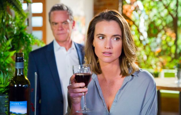Amy Williams with a large glass of red wine
