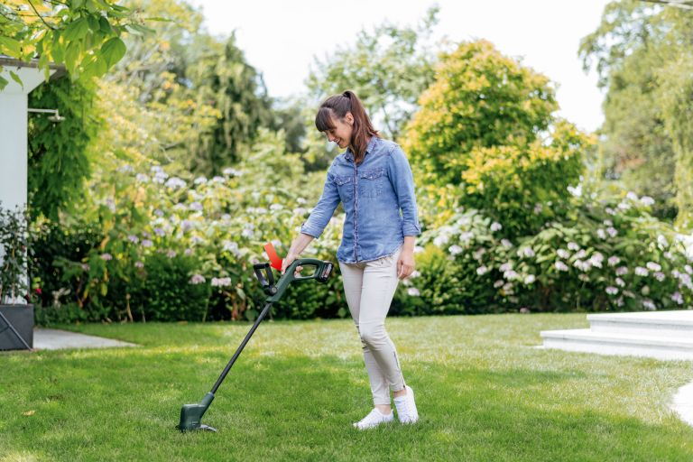 Bosch tool deals - a trimmer in use making short work of the garden