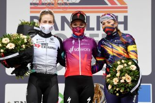 NOKERE BELGIUM MARCH 17 Podium Grace Brown of Australia and Team BikeExchange Amy Pieters of Netherlands and Team SD Worx Lisa Klein of Germany and Team Canyon SRAM Racing Celebration during the 3rd Nokere Koerse Danilith Classic 2021 Womens Elite a 124km race from Deinze to Nokere NokereKoerse on March 17 2021 in Nokere Belgium Photo by Mark Van HeckeGetty Images