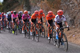 Ashleigh Moolman Pasio (CCC-Liv) leading the peloton at the 2020 Giro Rosa
