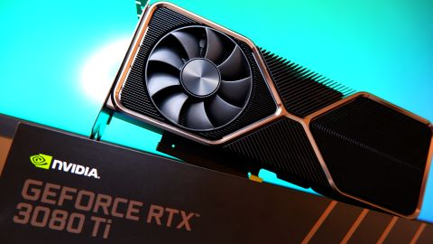 Nvidia GeForce RTX 3080 Ti Founders Edition graphics cards from various angles on a desk