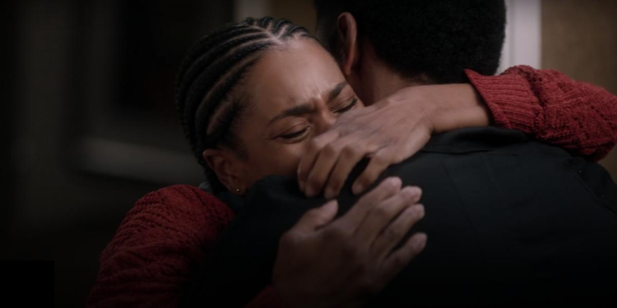 Grey's Anatomy Maggie Pierce Winston hug outside hotel room