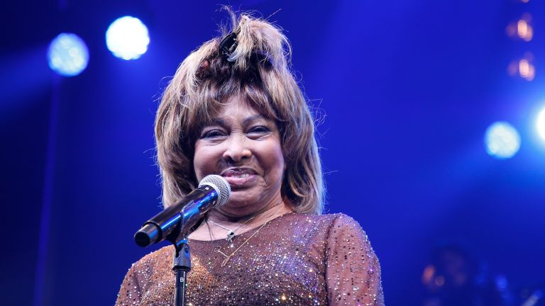 """Tina Turner speaks during the """"Tina - The Tina Turner Musical"""" opening night at Lunt-Fontanne Theatre on November 07, 2019 in New York City"""