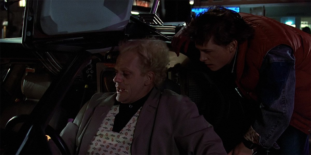 Marty and Doc in the DeLorean Time Machine in Back To The Future