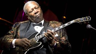 B.B. King performs his 10,000th concert at B.B. KIng Blues Club & Grill in Times Square on April 18, 2006 in New York City.
