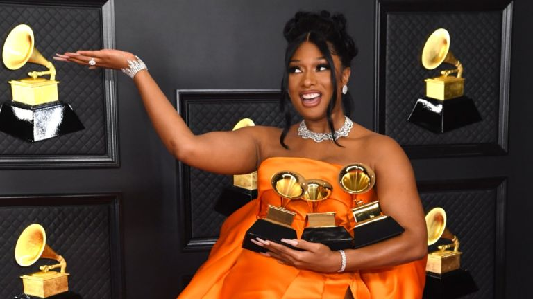The Grammy's 2021 - Meghan Thee Stallion with her awards