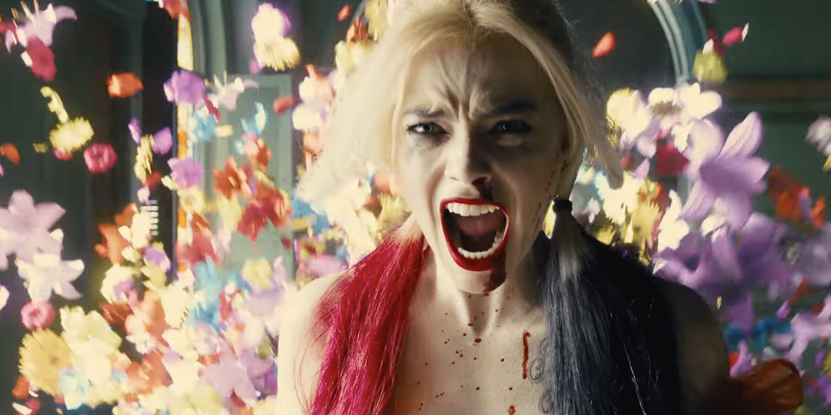 Margot Robbie yelling in action scene in The Suicide Squad trailer