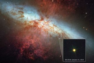 This image shows SN2014J, one of the closest type Ia supernovas in recent decades.