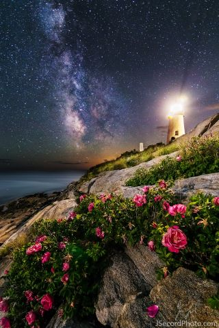 Milky Way, Moon and Lighthouse from Maine