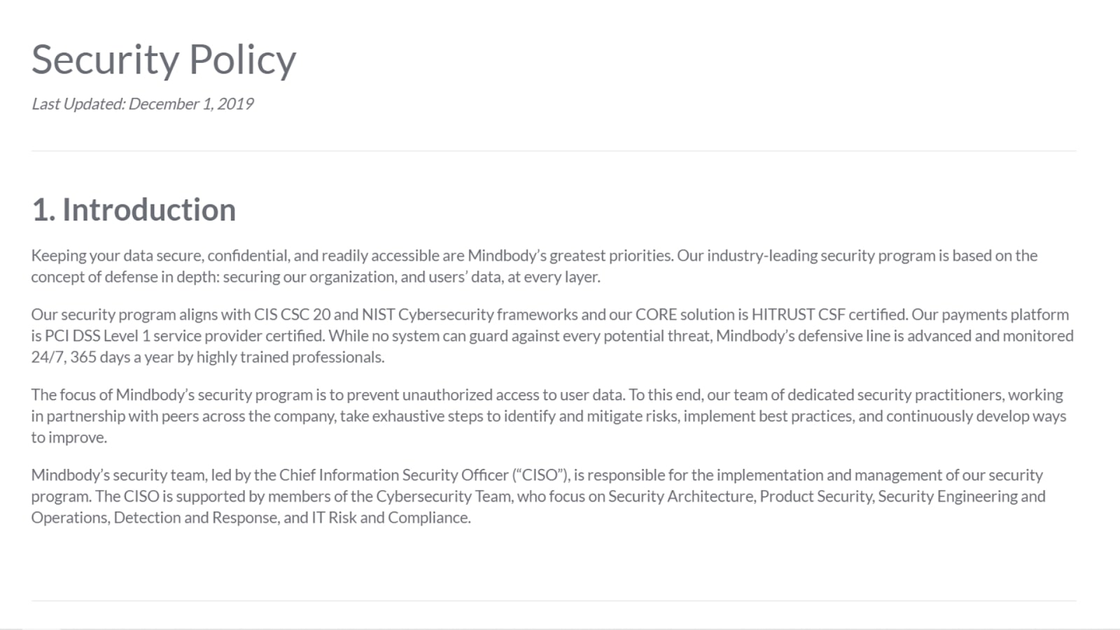 Booker POS data security policy screenshot