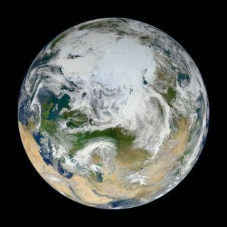 A view of Earth from above created from images snapped by the Suomi-NPP satellite.