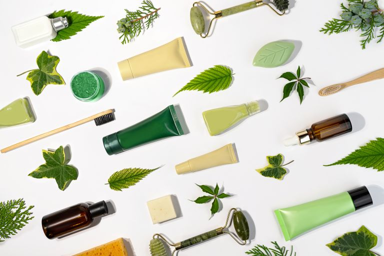 beauty products laid out, ethical beauty