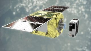 """The End-of-Life Services by Astroscale-demonstration (ELSA-d) mission will test a magnetic docking technique to remove space debris from orbit. The """"servicer"""" satellite will use GPS to locate space debris and then latch onto it using a magnetic docking plate to carry it down toward the Earth's atmosphere, where it will burn up."""