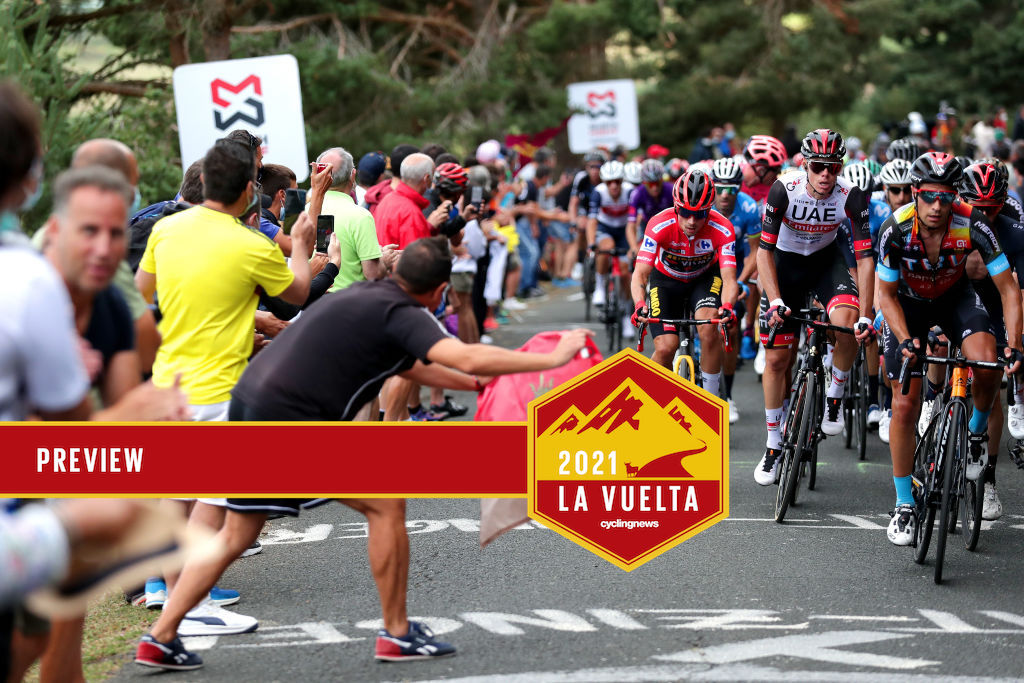 ESPINOSA DE LOS MONTEROS, SPAIN - AUGUST 16: (L-R) Primoz Roglic of Slovenia and Team Jumbo - Visma red leader jersey, David De La Cruz Melgarejo of Spain and UAE Team Emirates and Mikel Landa Meana of Spain and Team Bahrain Victorious compete while fans cheer during the 76th Tour of Spain 2021, Stage 3 a 202,8km stage from Santo Domingo de Silos to Espinosa de los Monteros - Picón Blanco 1485m / @lavuelta / #LaVuelta21 / #CapitalMundialdelCiclismo / on August 16, 2021 in Espinosa de los Monteros, Spain. (Photo by Gonzalo Arroyo Moreno/Getty Images)