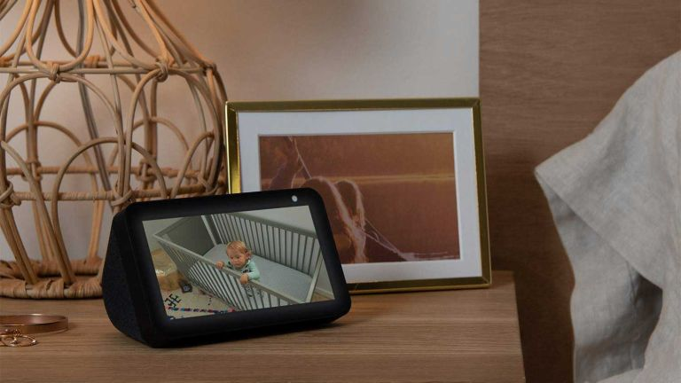 Virgin media broadband deal: Amazon Echo Show 5 on bedside table showing nursery view