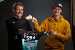 Bora-Hansgrohe manager Ralph Denk with new signing Anton Palzer