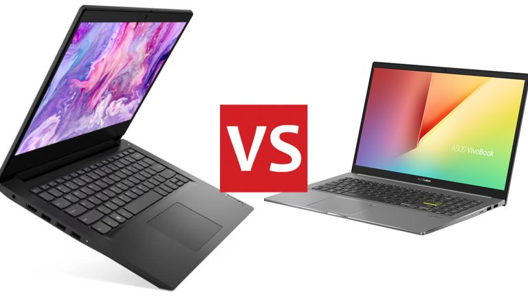 The Lenovo IdeaPad 3 (left) and the Asus VivoBook S15 (right).