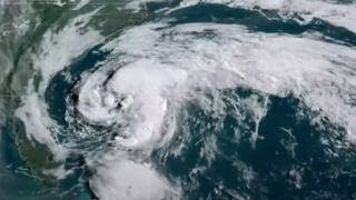 Satellite imagery of Tropical Storm Arthur, as seen on May 17, 2020.
