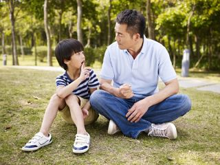 Father talking with son