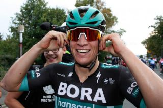 Pascal Ackermann is happy after winning stage 1 at Deutschland Tour