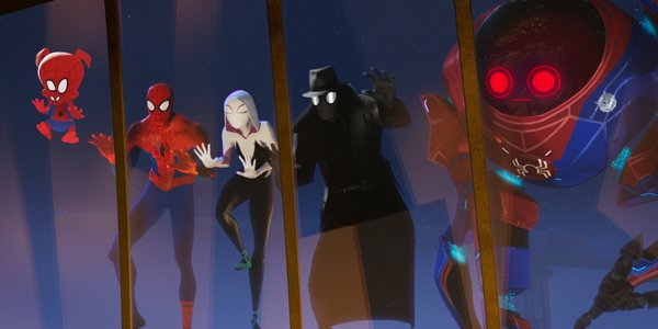 Spider-Ham, Spider-Man, Spider-Gwen, Spider-Man Noir and Peni Parker in Into the Spider-Verse
