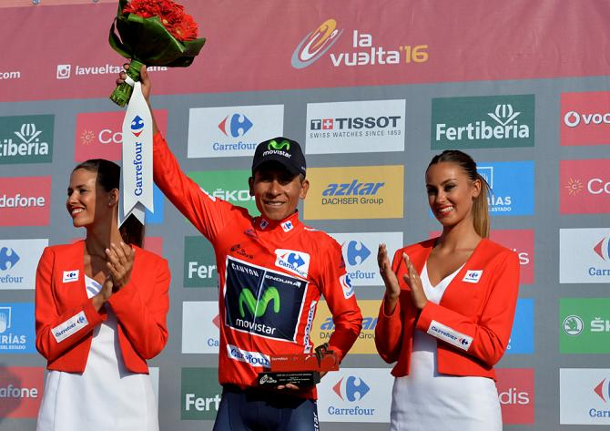 Movistar's Colombian cyclist Nairo Quintana celebrates on the podium after another day in the red jersey during the 17th stage of the 71st edition of 'La Vuelta'