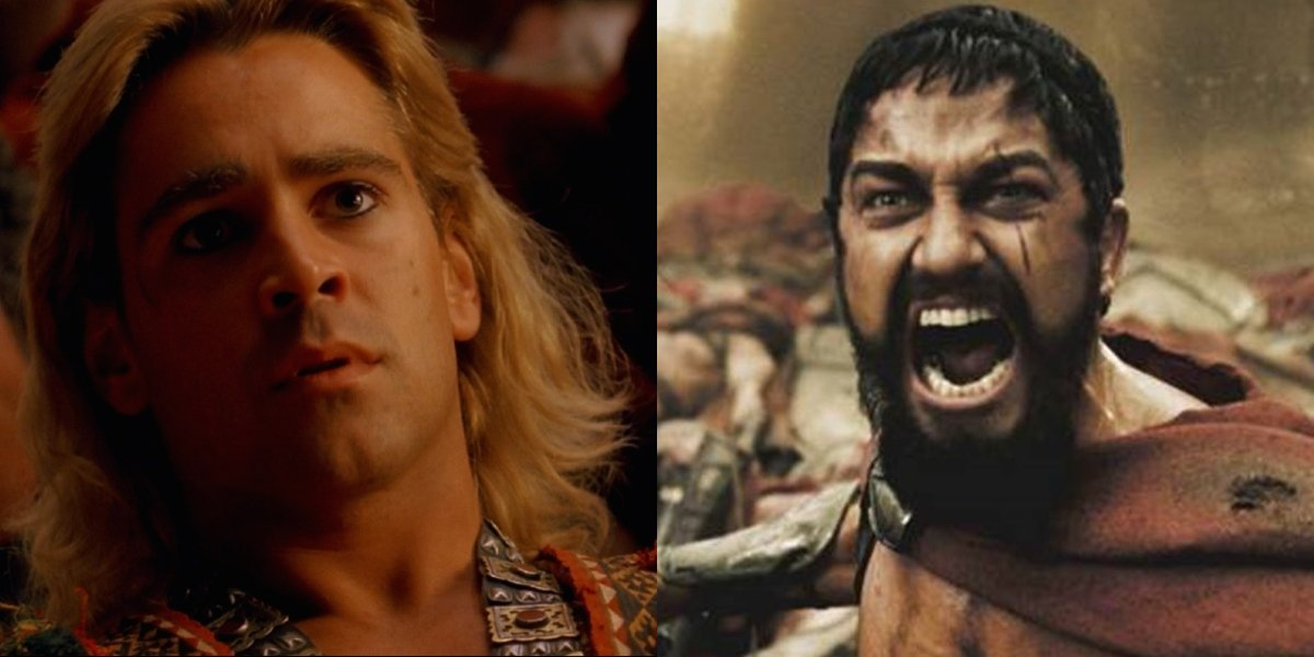 Colin Farrell as Alexander and Gerard Butler in 300, pictured side by side