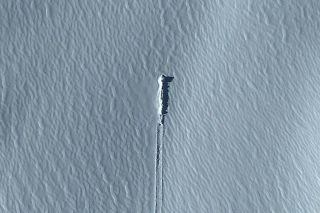 This block of ice in Antarctica, which is visible on Google Earth, is claimed by some as evidence of alien life.