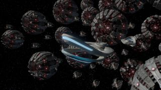 The USS Orville, currently under Kaylon control, leads the fleet of deadly death spheres towards Earth.