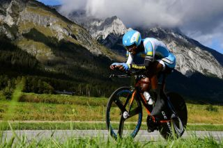 Rwanda's Joseph Areruya in the under-23 men's time trial at the 2018 World Championships in Innsbruck, Austria