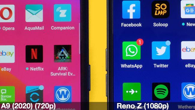 Экран Oppo A9 2020 по сравнению с экраном Reno Z