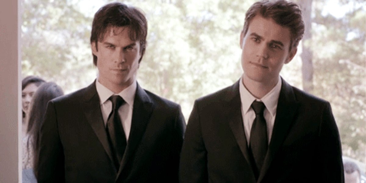 The Vampire Diaries Damon and Stefan Salvatore in suits The CW