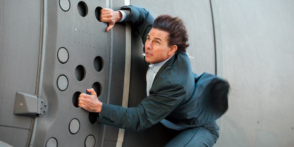 Tom Cruise hanging off plane in Mission Impossible Rogue Nation