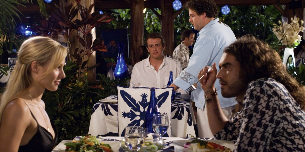 Kristen Bell, Jason Segel, Jonah Hill, and Russell Brand in Forgetting Sarah Marshall