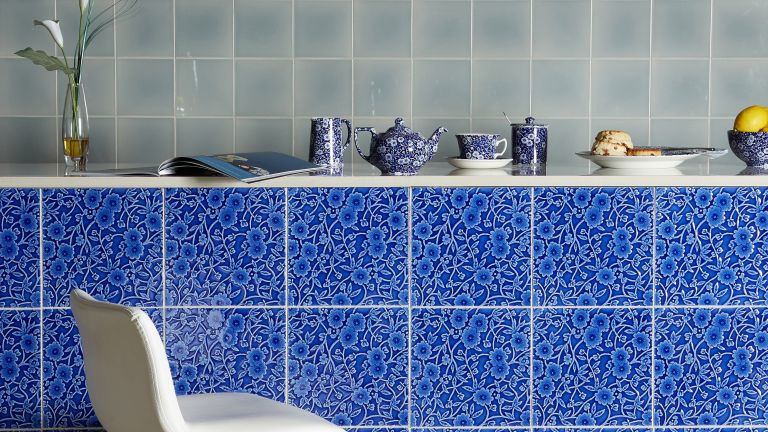 Blue tiles with ceramics in a kitchen