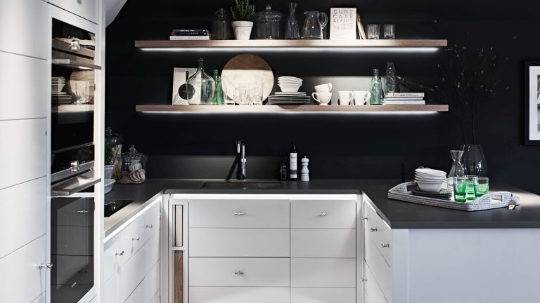 small monochrome kitchen with open shelving