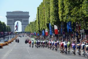 The peloton on the Champs Elysees in Paris on stage twenty of the 2012 Tour de France