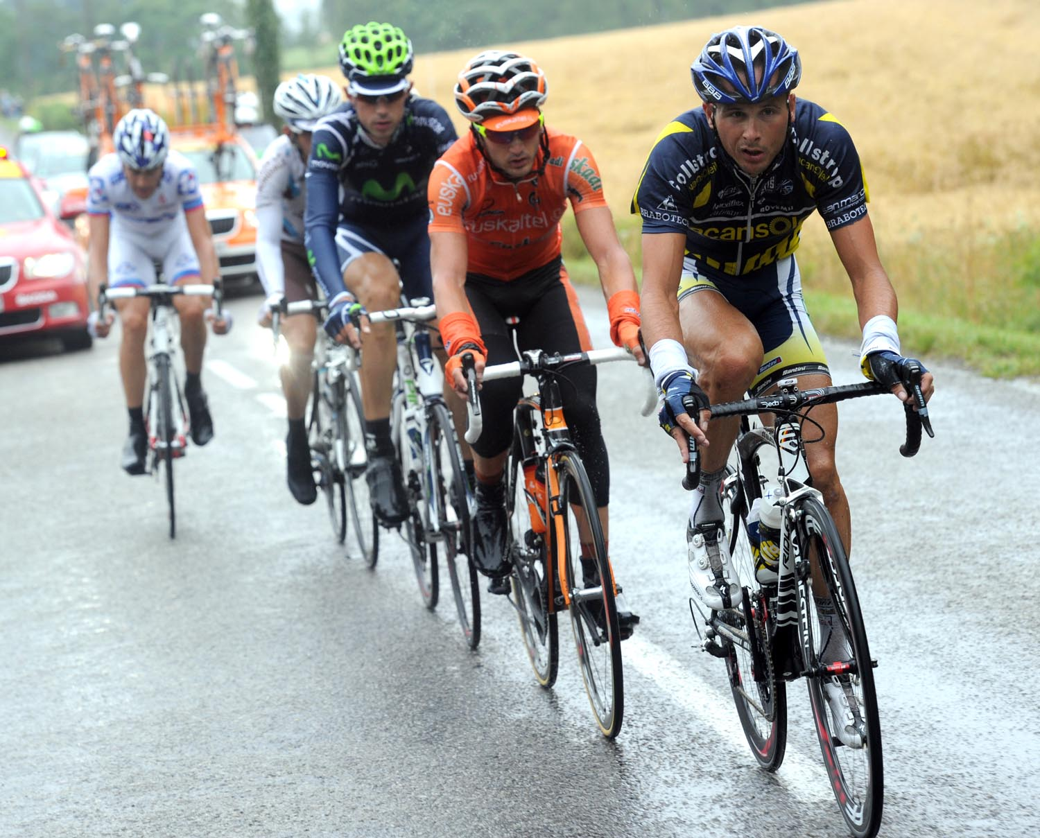 Johnny Hoogerland in escape, Tour de France 2011, stage four