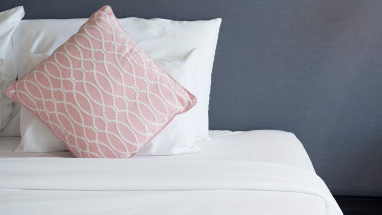 Bed room with white bed and pink pillow