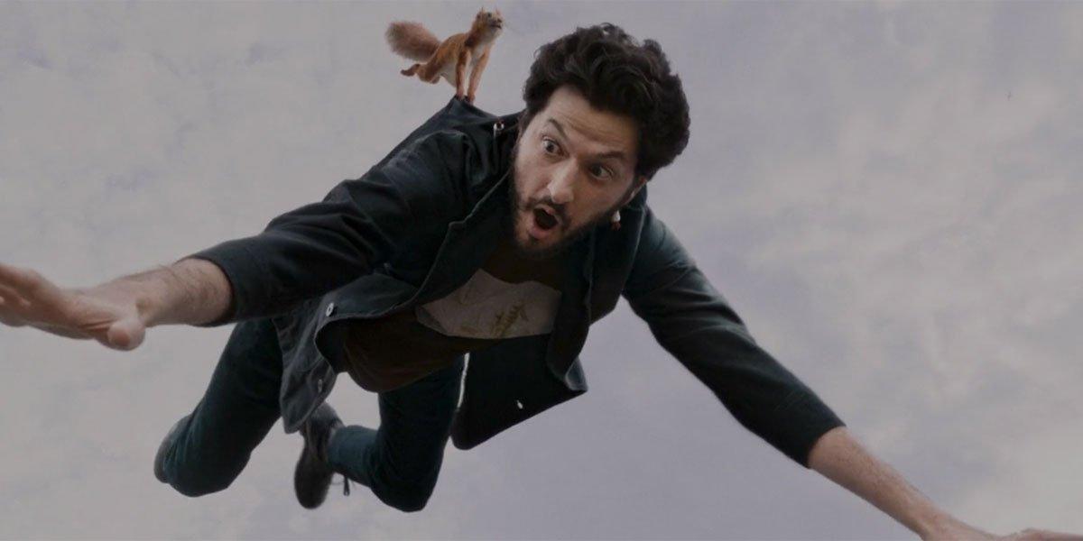 Ben Schwartz flying in Disney+'s Flora and Ulysses