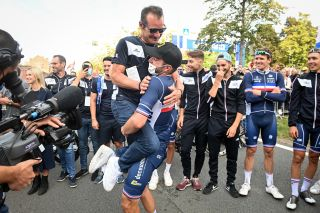 Thomas Voeckler and the French team celebrate Julian Alaphilippe's second world title.